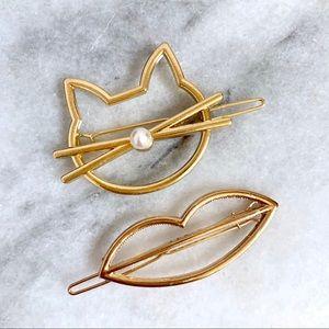 Minimalist Cat & Lips Gold Barrettes NWT